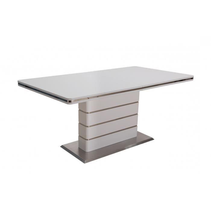 Table de salle manger blanc laqu et acier bross achat vente table a m - Discount table a manger ...