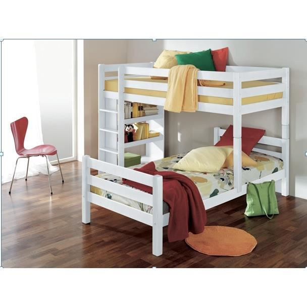 lit superpos angulaire pour enfant coloris blanc achat. Black Bedroom Furniture Sets. Home Design Ideas