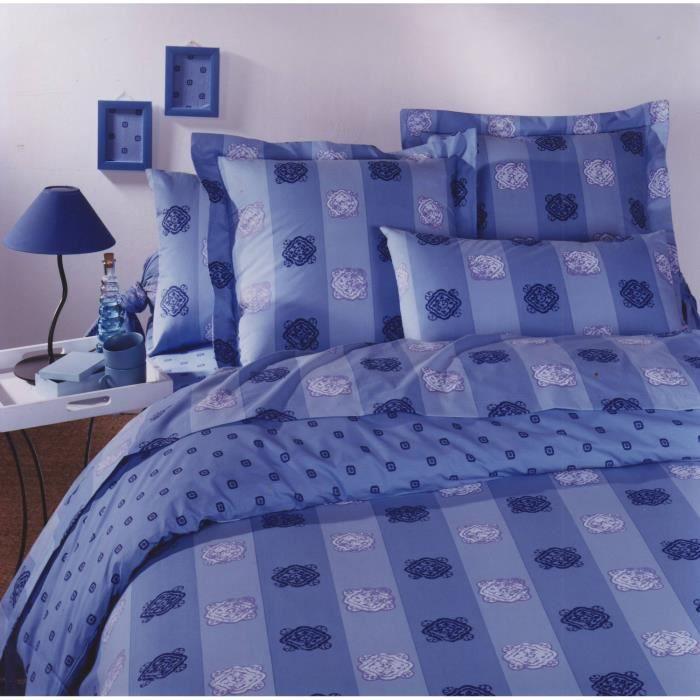parure drap plat en 100 coton aztec bleu 180x290 cm 1 taie d 39 oreiller 65x65 cm achat. Black Bedroom Furniture Sets. Home Design Ideas
