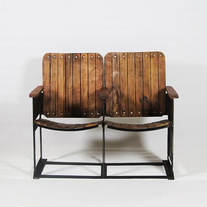 banc r tro cin ma 2 places bois achat vente banc. Black Bedroom Furniture Sets. Home Design Ideas