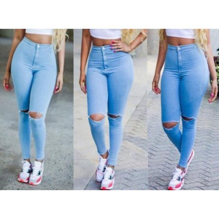 bleu pantalon en jeans skinny femme collant d chir taille haute sexy denim stretch trou aux. Black Bedroom Furniture Sets. Home Design Ideas