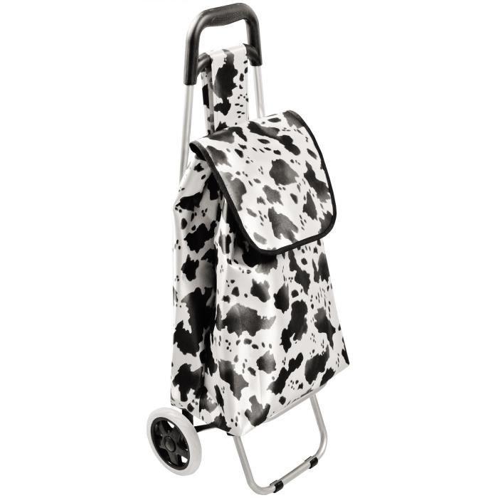 chariot de courses a roulettes imprim tendance animal peau de vache achat vente sac. Black Bedroom Furniture Sets. Home Design Ideas