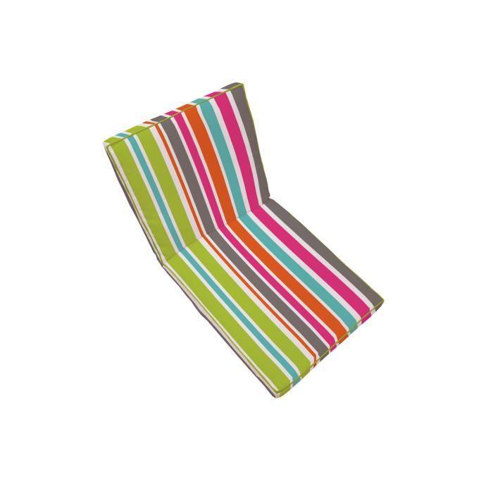 Coussin de fauteuil 90x42cm rayure multicolore 100 - Coussin polyester exterieur ...