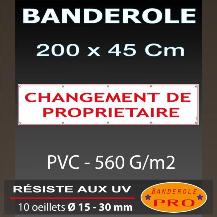 Changement de propri taire banderole 200 x 45 cm achat for Achat maison direct proprietaire