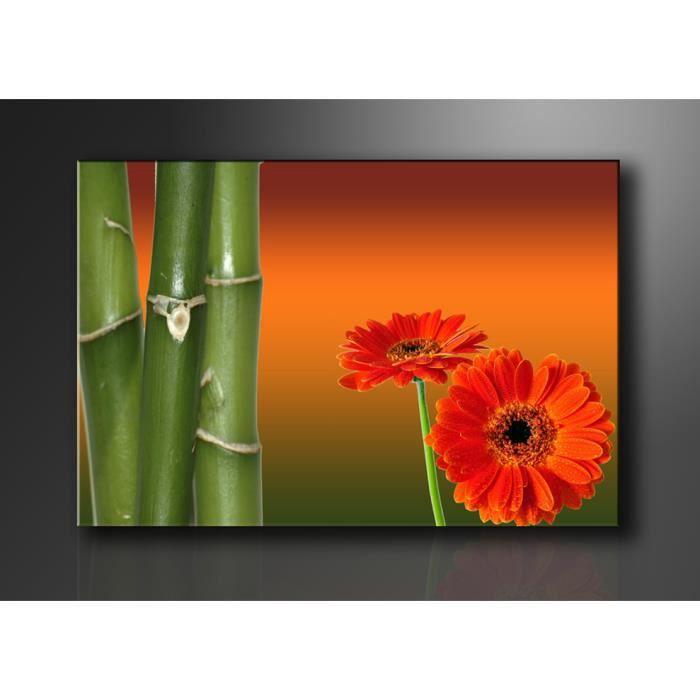 Tableau moderne imprim 120x80 cm fleur bambou achat vente tableau to - Vente tableau moderne ...