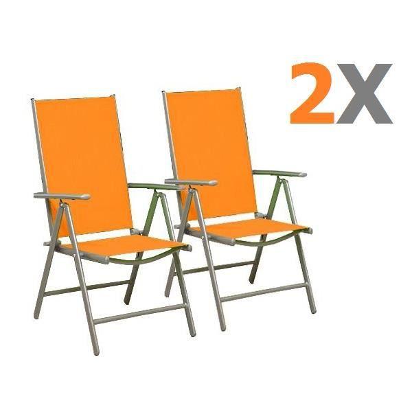 2 chaises pliante orange réglable en alu - achat / vente fauteuil ... - Chaise De Jardin Pliante Aluminium