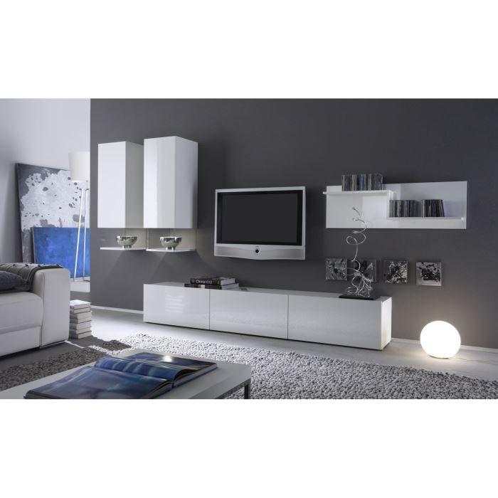 Ce magnifique ensemble salon evo 302 laqu blanc brillant design et fonctionn - Ensemble meuble tv design ...