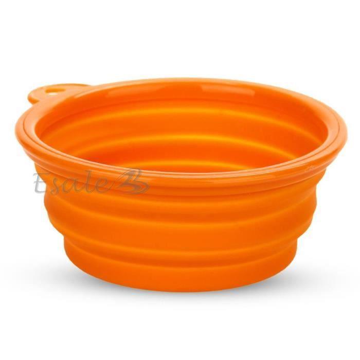 gamelle bol ecuelle mangeoire pliable en silicone orange pour chien chat animal achat vente. Black Bedroom Furniture Sets. Home Design Ideas