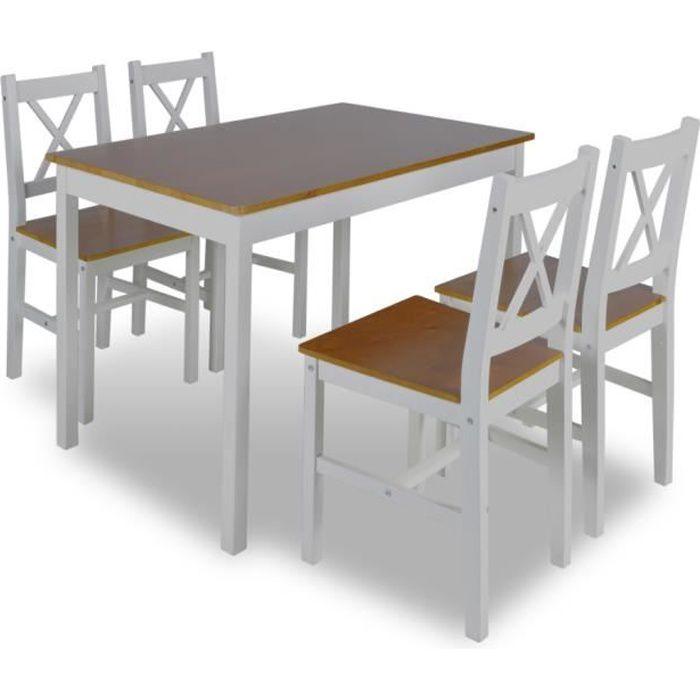 Set table cuisine avec 4 chaise en bois marron meubles - Table de cuisine avec chaises ...