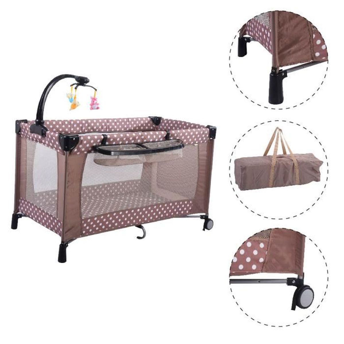 lit b b pliant parc pour b b parapluie avec accessoires matelas lit de voyage marron achat. Black Bedroom Furniture Sets. Home Design Ideas
