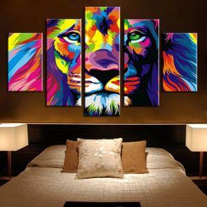 TABLEAU - TOILE Roi Lion animal imprimé abstrait peinture de toile