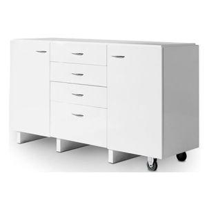 Commode design extensible et modulable blanc laqué