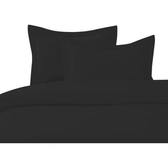 cdublanc housse de couette 140x200cm noir achat vente housse de couette. Black Bedroom Furniture Sets. Home Design Ideas