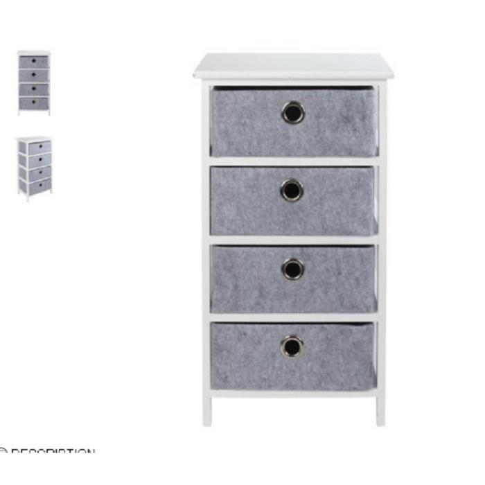 Meuble 4 tiroirs blanc et gris achat vente petit for Petit meuble gris et blanc