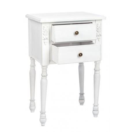 Table de nuit romantique 2 tiroirs en bois antique blanc 45x35x72 5cm j lin - Chevet blanc romantique ...