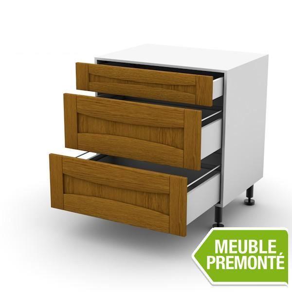 Meuble bas 70cm 1 tiroir 2 casseroliers 70x70 authentique for Meuble 70x70
