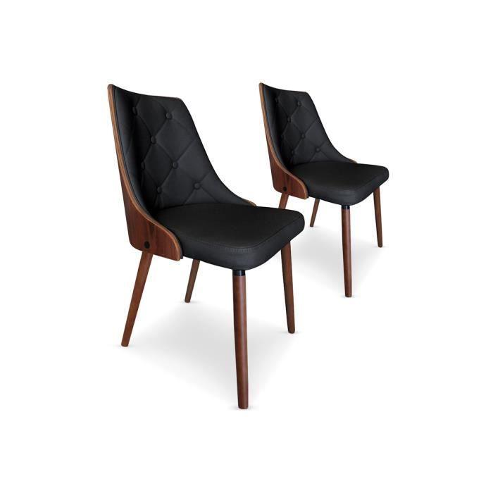 Lot de 2 chaises noires pu granada achat vente - Lot de chaises noires ...