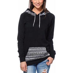 SWEATSHIRT Sweatshirt femme noir à capuche Finejo longues man