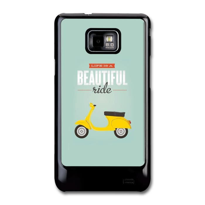 Life is a beautiful ride moped illustration coque pour for Housse samsung galaxy s2