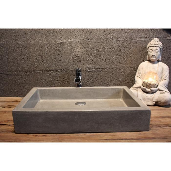 vasque timbre poser gris ciment 40x60cm achat vente. Black Bedroom Furniture Sets. Home Design Ideas