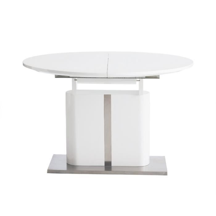 table de salle manger ronde avec rallonge blanche laqu e parma achat vente table a. Black Bedroom Furniture Sets. Home Design Ideas