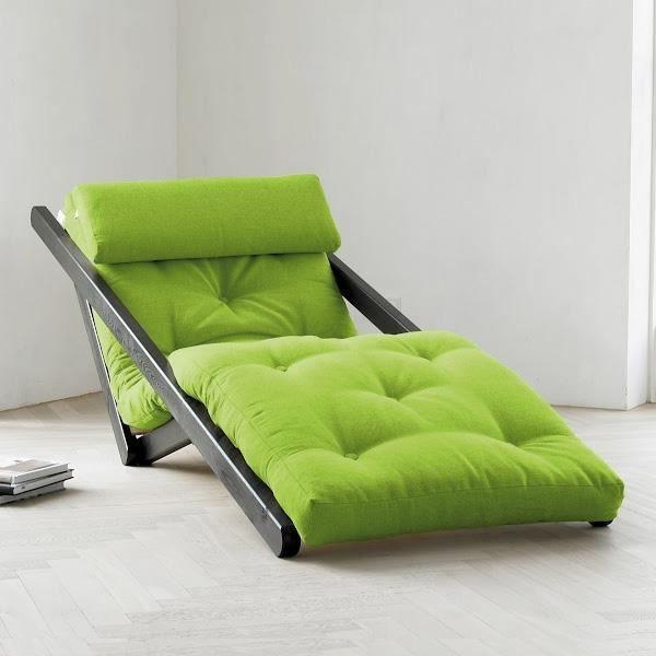 Chaise longue m ridienne canap design achat vente fauteuil pin massi - Fauteuil futon convertible 1 place ...