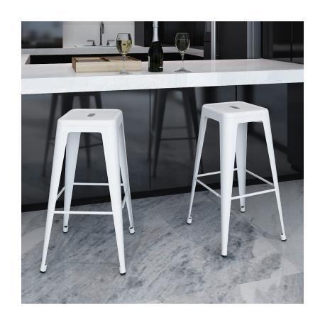 lot de 2 de tabourets de bar hauts blancs 4 pieds stylashop achat vente tabouret de bar. Black Bedroom Furniture Sets. Home Design Ideas