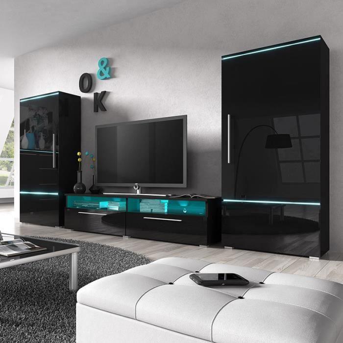 Ensemble meuble tv noir laqu design motivation 2 achat vente living me - Ensemble meuble tv design ...