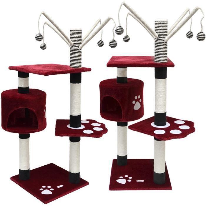 arbre chat en peluche sisal bordeaux 125 cm achat vente arbre chat arbre chat en. Black Bedroom Furniture Sets. Home Design Ideas