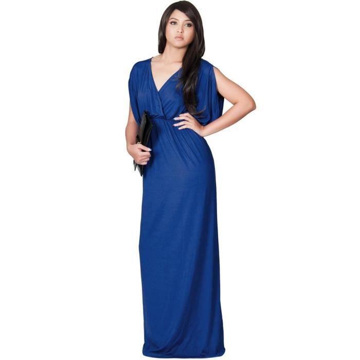robe de soir e longue femme grande taille sexy bleu achat vente robe de c r monie soldes. Black Bedroom Furniture Sets. Home Design Ideas