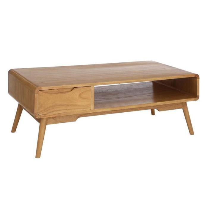Table basse 2 tiroirs bois naturel mindio l 107 x l 60 for Table basse bois naturel