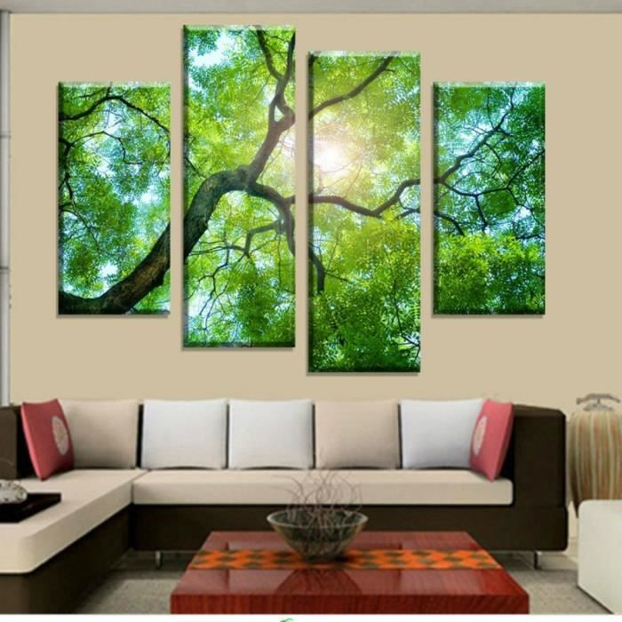 unframed 4 panneaux d coration int rieure peinture d 39 arbre verte tableau d 39 art mural pour d cor. Black Bedroom Furniture Sets. Home Design Ideas