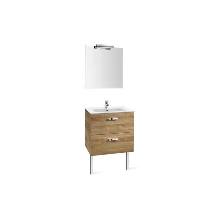 Pack unik victoria noyer meuble 600x450mm miroi achat for Meuble salle de bain complet