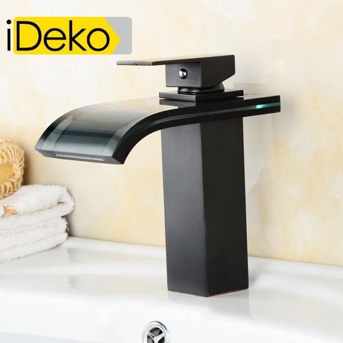 ideko robinet mitigeur lavabo cascade en verre noir. Black Bedroom Furniture Sets. Home Design Ideas
