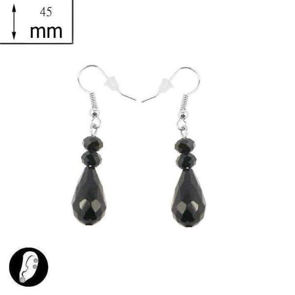 boucles d 39 oreilles fantaisies longues perles noir achat vente boucle d 39 oreille boucles d. Black Bedroom Furniture Sets. Home Design Ideas