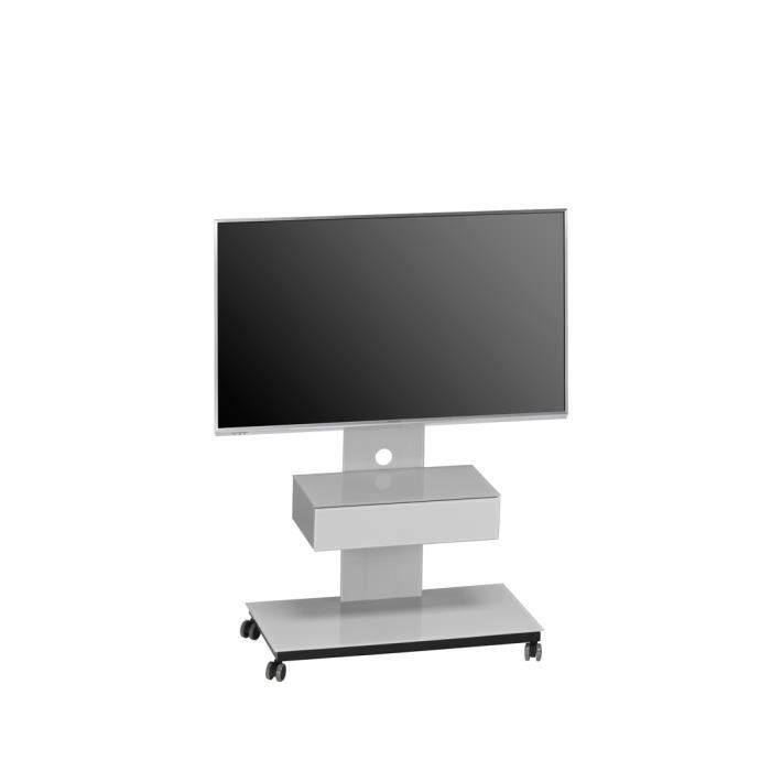 Meuble tv design m tal noir verre gris platine savina achat vente meuble - Meuble tv metal noir ...