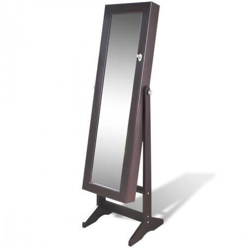 Armoire bijoux brun sur pied avec miroir et clairage for Armoire chambre avec miroir