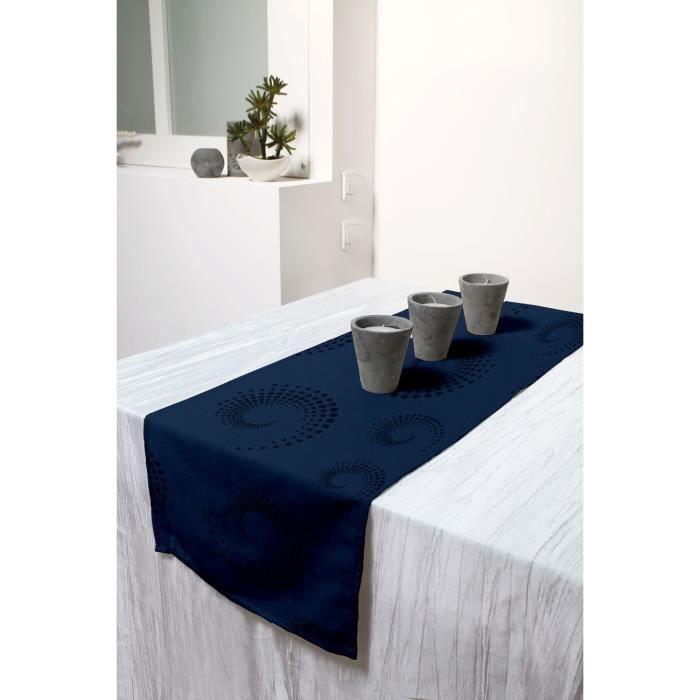 Chemin de table cargoline bleu 40x140cm achat vente for Chemin de table bleu