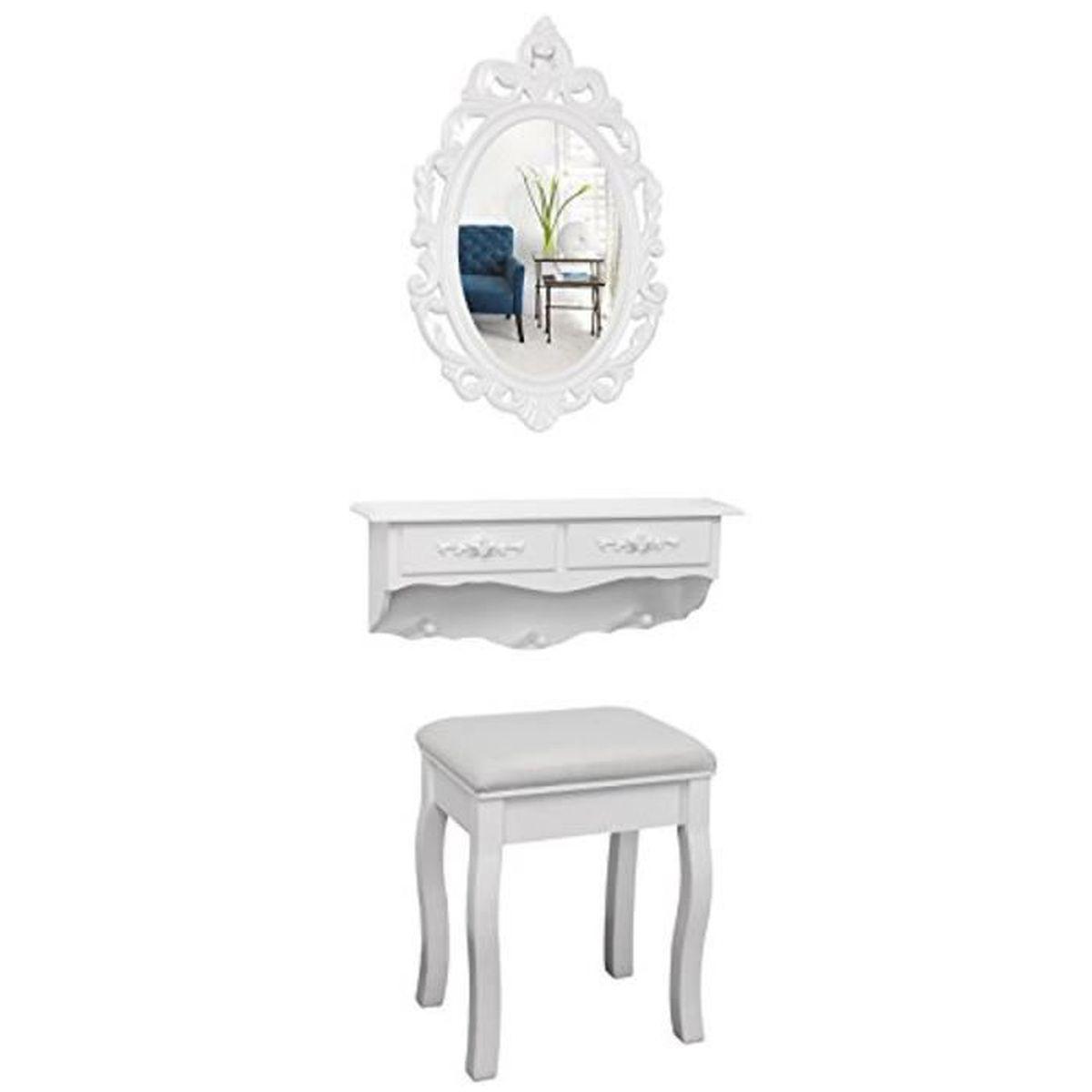mini coiffeuse murale blanche avec miroir et tabouret 2175. Black Bedroom Furniture Sets. Home Design Ideas