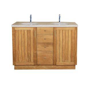Meuble salle de bain avec 2 vasques 120 cm achat vente for Meuble salle de bain pas cher 2 vasques