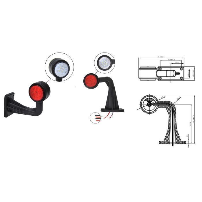 2 feux de gabarit led incline 12v 24v rouge et bla achat vente feux de gabarit 2 feux de. Black Bedroom Furniture Sets. Home Design Ideas
