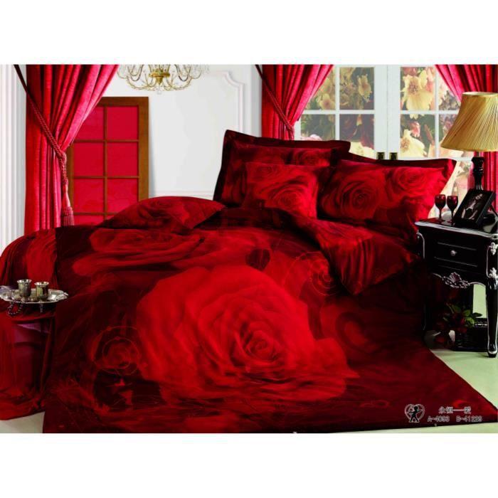 parure de lit roses rouges coton 200 230 cm 3d effet 4 piece achat vente housse de couette. Black Bedroom Furniture Sets. Home Design Ideas
