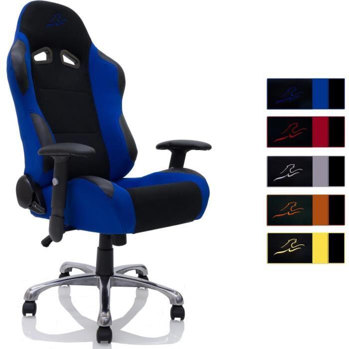fauteuil chaise de bureau racing noir bleu achat vente chaise de bureau cdiscount. Black Bedroom Furniture Sets. Home Design Ideas