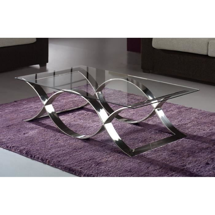 Table basse design m tal et verre 130x70 cm achat vente table basse table - Table salon verre design ...