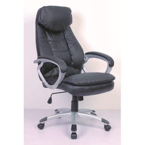 Chaise de bureau ergonomique en cuir noir achat vente for Chaises en cuir noir