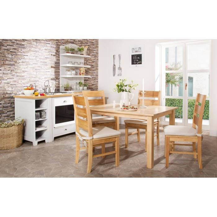 Table 120x80 et 4 chaises natura en h v a massivum voir la for Table cuisine 120x80