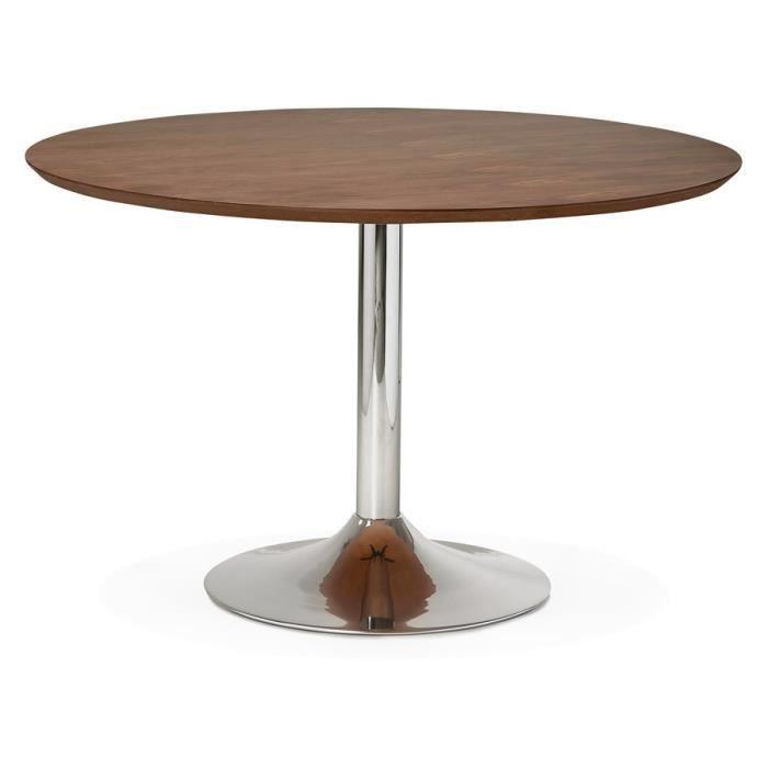 table diner de bureau ronde 39 kitchen 39 en bois finition noyer 120 cm achat vente table. Black Bedroom Furniture Sets. Home Design Ideas