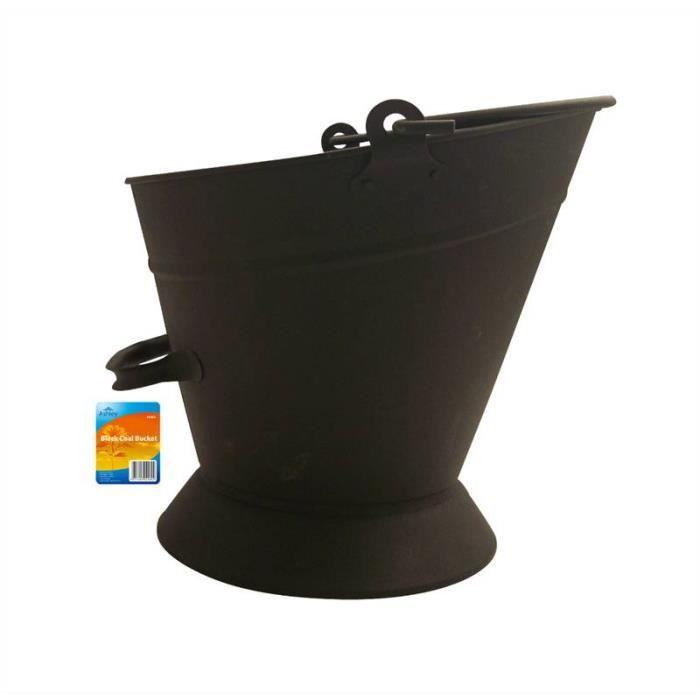 seau charbon noir avec poign es en fer pour chemin e. Black Bedroom Furniture Sets. Home Design Ideas