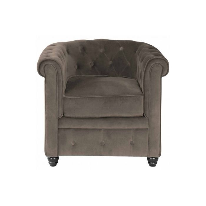 Fauteuil chesterfield velours taupe achat vente fauteuil marron cdiscount - Fauteuil chesterfield velours ...