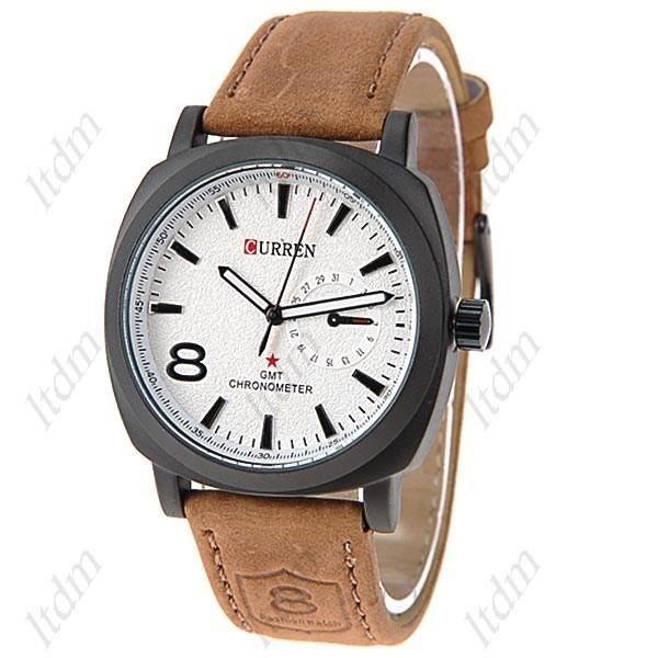 curren montre homme blanche bracelet cuir tendance achat vente montre cdiscount. Black Bedroom Furniture Sets. Home Design Ideas